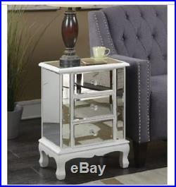Mirrored Nightstand Table End Bedroom Chest Bedside Side WHITE Drawers Glam