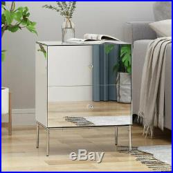 Mirrored Side End Table Accent Bedside Nightstand Storage Cabinet 2 Drawer Sofa