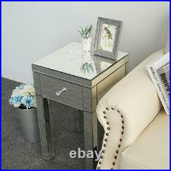 Mirrored Sofa End Side Bedside Table Nightstand Bedroom Storage Table with Drawers