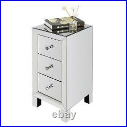 Mirrored Sofa End Table Glass Nightstand Bed Side Modern Elegant Furniture