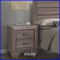 Modern 2- Drawer Nightstand Bed Side Storage Photo Lamp End Table Display Gray