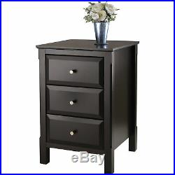 Modern 3-Drawer Nightstand Bed Side Cabinet End Table Lamp Display Stand Black