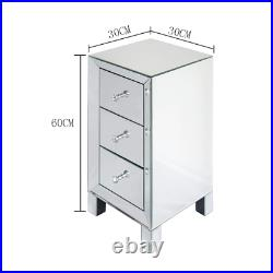 Modern And Contemporary Mirrored 3-Drawers Nightstand Bedside Table Side Table 3