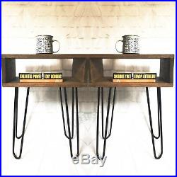 Modern Bedside Nightstand Table Set, Pair of Bed Side Hairpin Tables, end table