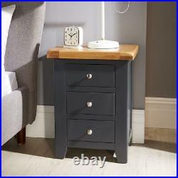 Modern Blue Solid Wood Bedside Lamp End Side Table 3 Drawers Bedroom Furniture