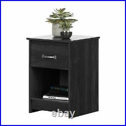 Modern Farmhouse Nightstand Bed Side Table Display Drawer Bedroom Furniture Gray