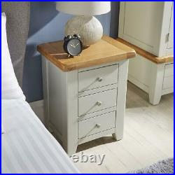 Modern Grey Solid Wood Bedside Lamp End Side Table 3 Drawers Bedroom Furniture