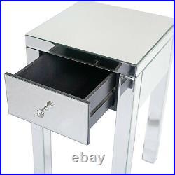 Modern Mirrored 1 Drawer Nightstand End Table Bedroom Storage Sofa Side Bedside