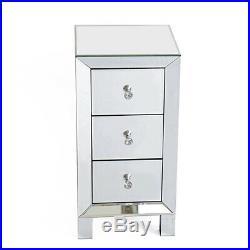 Modern Mirrored 3 Drawers Nightstand End Table Bedroom Storage Sofa Side Bedside