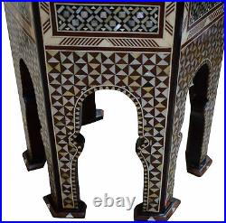 Moroccan 25 Height Wooden Side Coffee Entryway Table with Mother of Pearl Inlay