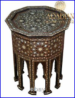 Morocco Coffee & End Table. Moroccan Mosaic Wood Side Table, Entryway Table