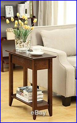 Narrow End Table Bedside Slim Side Small Spaces Concealed Storage Hinged Top