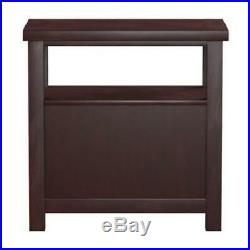 Narrow Space Chair Side End Table Shelf Drawers Bedside Nightstand Cherry Finish