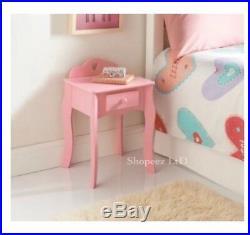New Amelia Bedside Cabinet Drawer Pink Kids Girls Bedroom Bed Side Table Unit