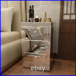 New Cabinet Mirrored Glass Bedside Tables Cabinet 3 Drawers Bedside Side Table