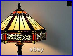 New Pair of 2 JT Tiffany Stained Glass Six-Sided Vintage Bedside Table Lamp Art