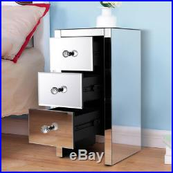 New Silver Mirrored 3-Drawer Crystal Accent Table Nightstand Sofa Bed Side Table