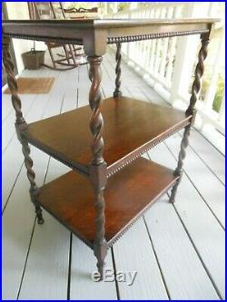 Nice 3 Tier Solid Oak Barley Twist End Side Lamp Bedside Table Stand F/England