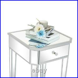Night Stand Bed Side Table Modern Mirrored 1 Drawer Silver End Side Table