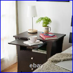Nightstand 2-Drawer Storage Lamp Stand Bed Side Table Elegant Furniture Espresso