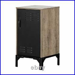 Nightstand Bed Side Table Lamp Stand Wooden Furniture Weathered Oak Matte Black
