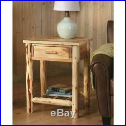 Nightstand Bedside Wooden Log End Table Bedroom Side Stand Accent With Drawer