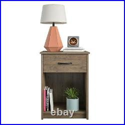 Nightstand Set of 2 Rustic Side End Table Bedroom Bedside Furniture Shelf Drawer