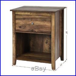 Nightstand Sofa Bed Side Coffee Table Storage Drawer Shelf Bedroom Brown