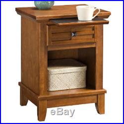 Oak Bed Side Table End Accent Furniture Night Lamp Stand Drawer Pull Out Tray