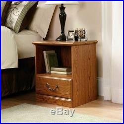 Oak Finish Nightstand Bedside Table 1 Drawer End Side Storage Shelf Bedroom