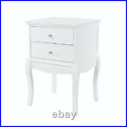 Painted White Bedside Table / Shabby Chic Style 2 Drawer Nightstand / Side Table