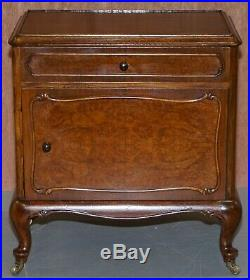 Pair Of Circa 1920 Burr Walnut Side Lamp Or Bedside Table Night Stands Cupboards