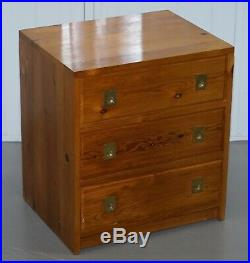 Pair Of Nodus Solid Pine Military Campaign Bedside Or Side Table Sized Drawers