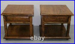 Pair Of Stylish Mango Wood Side/occasional Tables With Single Drawer & Shelf