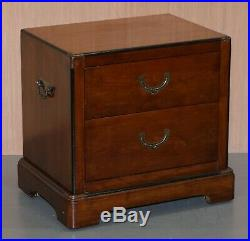 Pair Of Vintage Military Campaign Mahogany Lamp Wine Side Bedside Table Drawers