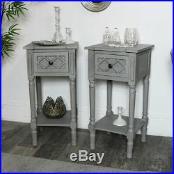Pair grey bedside side occasional tables vintage bedroom living room furniture