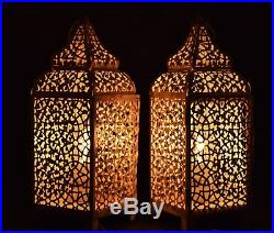 Pair of Moroccan Brass Table Lamp Bed Side Table Lamp