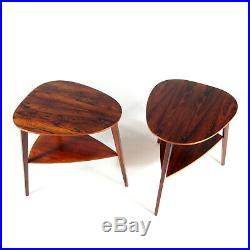 Pair of Retro Vintage Danish Rosewood Bedside Tables Cabinets Side Coffee 60s