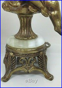 Pair of Vintage Brass and Onyx Side/Bedside Table Lamps Child / Cherub design