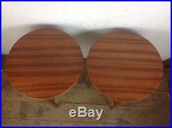 Pair of vintage folding side occasional circular bedside sofa tables wood retro