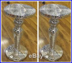 Pair x2 Silver Mirrored Table Modern Flower Stand Bed Side Lamp Romany Mosaic