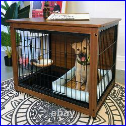 Pet Dog Crate Cage Sofa Bed Side End Table Wood Dog Kennel House with Double Doors