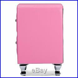 Pink Faux Leather Crystal Bedside Table 2 Drawer End Side Storage Furniture Tuft