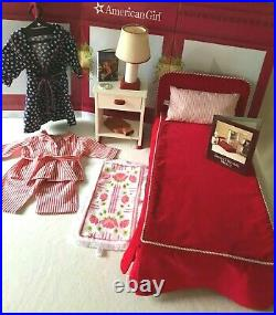 Pleasant Company Sweet Dream's Molly 1990 Wooden Bed, Side Table, Lamp LOT