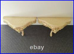RARE ANTIQUE ITALIAN FLORENTINE WALL SIDE TABLES BEDSIDE French Chic Decor