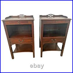 Rare Kindel Matching Bedside Chests Night Stands Mahogany Side Tables 2 drawers