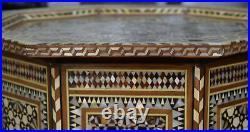 Rare Morocco Coffee & End Table. Moroccan Mosaic Wood Side Table, Entryway Table