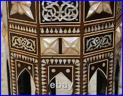 Rare Turkish Coffee & End Table. Moroccan Mosaic Wood Side Table, Entryway Table
