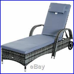 Rattan Sun Lounger Set Wicker Recliner Bed Side Table Garden Furniture Cushion