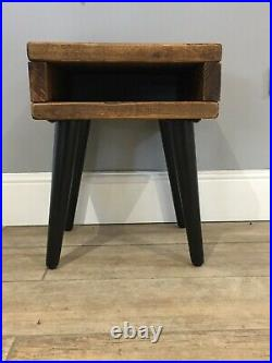 Reclaimed Wood Mid Century Side Table Bedside Table Living Room Side Table